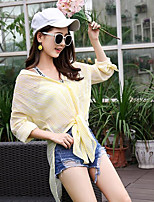 Women's Casual/Daily Simple Summer Shirt,Striped V Neck Long Sleeves Cotton Medium