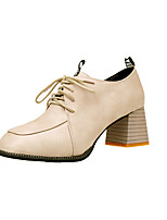 Women's Heels Formal Shoes Fall PU Casual Dress Lace-up Chunky Heel Brown Beige Black 2in-2 3/4in