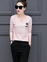 Women's Casual/Daily Simple T-shirt,Striped Round Neck Long Sleeves Cotton Others