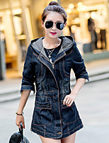 Women's Casual/Daily Simple Spring Denim Jacket,Solid Square Neck Long Sleeve Regular Cotton