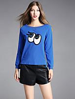 Tee-shirt Femme,Imprimé Décontracté / Quotidien simple Automne Manches Longues Col Arrondi Coton Spandex Epais