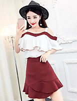 Women's Casual/Daily Simple Summer T-shirt Skirt Suits,Solid Strap Short Sleeve