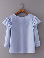 T-shirt Da donna Per uscire Casual Semplice Moda città Primavera Autunno,Tinta unita A strisce Rotonda Cotone Manica lungaSottile Medio