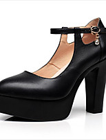 Women's Heels Formal Shoes Spring Summer Fall Winter Cowhide Leather Office & Career Party & Evening Dress Buckle Hollow-out Chunky Heel