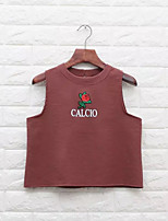Women's Going out Casual/Daily Simple Tank Top,Embroidery Round Neck Sleeveless Cotton