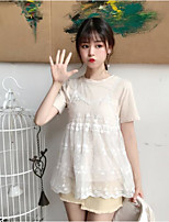 Women's Casual/Daily Cute Blouse,Solid Round Neck Short Sleeves Cotton