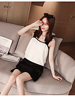 Women's Casual/Daily Soak Off Summer T-shirt Skirt Suits,Solid Round Neck Short Sleeve strenchy
