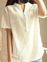 Camicia Da donna Casual Semplice Estate,Tinta unita Colletto Lino Manica corta Medio spessore