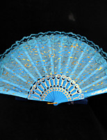 Double Layer Lace Blue Hand Fan   1 Piece/Set   Hand Fans Wedding Laces