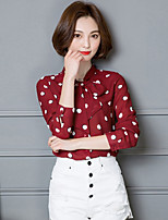 Women's Going out Casual/Daily Street chic Spring Summer Shirt,Solid Polka Dot Shirt Collar Long Sleeves Cotton Thin