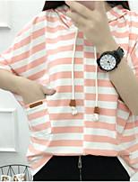 T-shirt Da donna Casual Semplice A strisce Con cappuccio Cotone Altro Manica corta