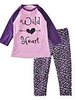 Girls' Print Sets Cotton Spring Fall Long Sleeve Clothing Set Wild Heart Purple Kids Clothes