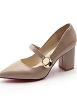 Damen High Heel Komfort Sommer PU Kleid Blockabsatz Schwarz Beige 7,5 - 9,5 cm