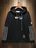 Men's Plus Size Going out Simple Hoodie Solid Hooded Micro-elastic Cotton Polyester Spandex Others Long Sleeve Spring Fall