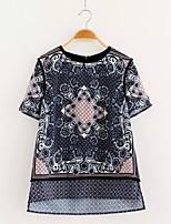 Feminino Camiseta Para Noite Casual Feriado Sensual Simples Moda de Rua Verão Outono,Floral EstampadoAlgodão Acrílico Poliéster Elastano