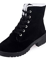 Women's Boots Combat Boots Fall Winter PU Casual Lace-up Low Heel Black Under 1in