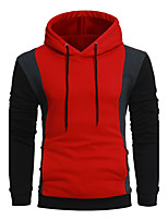 Men's Casual/Daily Vintage Hoodie Color Block Patchwork Hooded Micro-elastic Acrylic Long Sleeve Fall Winter