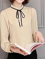 Women's Casual/Daily Simple Blouse,Solid Stand Long Sleeves Others