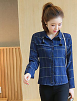 Women's Casual/Daily Simple Blouse,Print Square Neck Long Sleeves Cotton Others