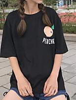 T-shirt Da donna Casual Semplice Tinta unita Con stampe Rotonda Cotone Manica corta