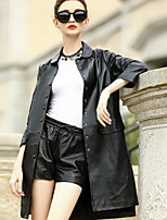 REVIENNE BAY Women's Casual/Daily Work Simple Street chic Fall Winter Leather JacketSolid Shirt Collar  Sleeve Regular Lambskin