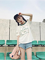 Women's Casual/Daily Simple T-shirt,Solid Print Round Neck Short Sleeves Cotton