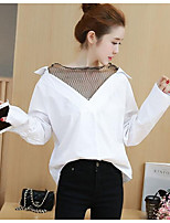 Women's Casual/Daily Simple Spring Blouse,Solid V Neck Long Sleeves Nylon Medium
