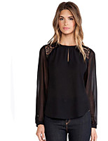 Women's Plus Size Casual/Daily Street chic Summer Fall Blouse,Color Block Round Neck Long Sleeves Polyester Medium
