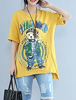 Women's Going out Casual/Daily Simple Summer T-shirt,Solid Animal Print Round Neck Short Sleeves Cotton Thin