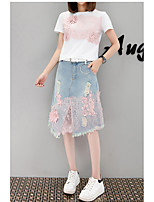 Women's Daily Soak Off Summer Shirt Skirt Suits,Floral Print Round Neck Short Sleeve strenchy