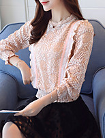 Women's Going out Casual/Daily Simple Blouse,Solid Round Neck Long Sleeves Cotton