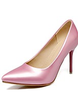 Women's Heel Comfort Spring Fall Patent Leather Outdoor Office & Career Stiletto Heel Blushing Pink Green Ruby Black White 3in-3 3/4in
