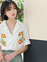 Women's Casual/Daily Simple Shirt,Embroidery Shirt Collar Short Sleeves Others