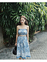 Women's Casual/Daily Simple Summer Tank Top Skirt Suits,Floral Strapless Sleeveless