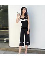 Canotta Pantalone Completi abbigliamento Da donna Casual Semplice Estate,Tinta unita Con bretelline Senza maniche