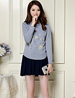 Women's Casual/Daily Simple Spring T-shirt Skirt Suits,Geometric Pattern Round Neck Long Sleeve