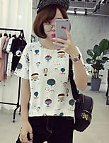 Women's Casual/Daily Simple Summer T-shirt,Print Round Neck Short Sleeves Cotton Medium