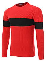 Normal Pullover Homme Décontracté / Quotidien Travail simple Actif Chinoiserie,Couleur Pleine Col Arrondi Manches Longues Coton Automne