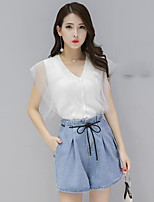 Women's Casual/Daily Simple Summer T-shirt Pant Suits,Solid V Neck Sleeveless