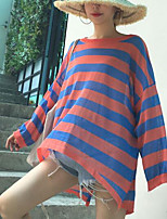 Women's Casual/Daily Simple T-shirt,Striped Round Neck Long Sleeves Others