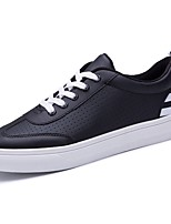 Men's Sneakers Comfort Spring Fall PU Casual Outdoor Lace-up Flat Heel Ruby Black White Flat
