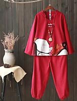Damen Solide Druck Einfach Niedlich Aktiv Festtage Ausgehen Lässig/Alltäglich T-Shirt-Ärmel Hose Anzüge,V-Ausschnitt Frühling Herbst