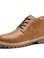 Men's Boots Combat Boots Fall Winter Leatherette Casual Outdoor Office & Career Lace-up Flat Heel Dark Brown Yellow Gray Flat