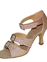Damen Latin Glitzer Sandalen Aufführung Verschlussschnalle Kubanischer Absatz Schwarz Mandelfarben 5 - 6,8 cm 7,5 - 9,5 cm Maßfertigung