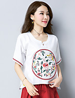 Women's Casual/Daily Simple T-shirt,Solid Embroidery Round Neck Short Sleeves Cotton