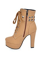 Women's Boots Comfort Fall Winter Leatherette Casual Dress Office & Career Lace-up Studded Stiletto Heel Black Beige Yellow Light Brown