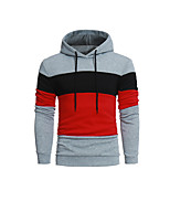 Men's Sports Casual/Daily Simple Street chic Hoodie Color Block Patchwork Hooded Micro-elastic Cotton Polyester Long Sleeve Fall Winter