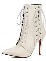 Women's Boots Combat Boots Fall Winter Leatherette Party & Evening Lace-up Stiletto Heel White Black Ruby 3in-3 3/4in