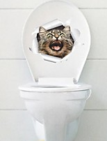 Wall Stickers Wall Decals Ferocious Cat Toilet Decoration PVC Wall Stickers