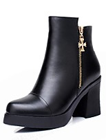 Women's Boots Cowboy / Western Boots Synthetic Microfiber PU Fall Winter Casual Zipper Chunky Heel Black 3in-3 3/4in